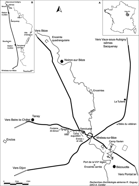 A : Mirebeau dans son environnement. B : La voie Mirebeau/Vaux-sous-Aubigny.