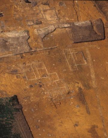 Vue aérienne des fouilles du sanctuaire en 2001