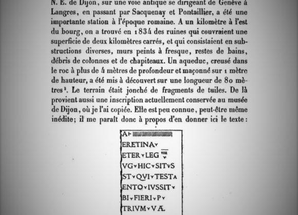 Les inscriptions et les tuiles légionnaires de Mirebeau